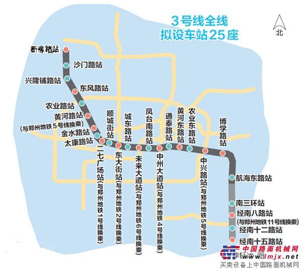 河南/郑州地铁3号线线路图