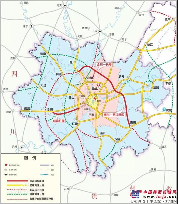 """圆重庆""""三环梦"""",柳工起重机助力长合高速公路建设"""