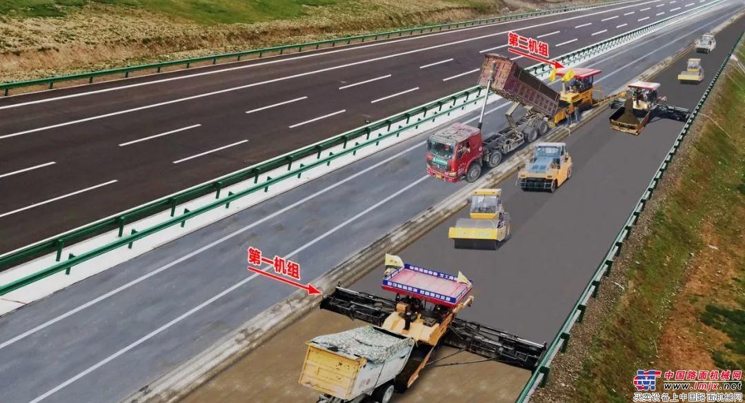 中大机械:12米宽新建路面水稳基层双机组同步连铺连压整体成型施工工法模拟