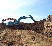 上海液压加长臂挖掘机出租/挖.运.推.破碎.清场等基础处理