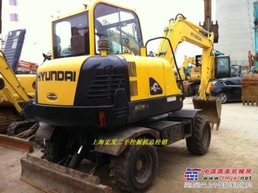 出售二手现代60-7轮式挖掘机现代60-7胶轮挖掘机