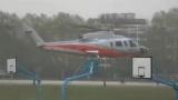 三一重工老总乘直升机飞达华中科技大学西操场