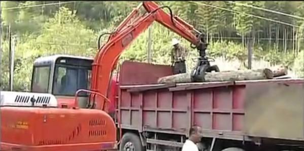 劲工夹木头夹甘蔗夹石头视频