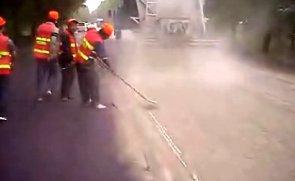 万里水泥撒布机施工现场视频