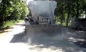 陕西万里水泥撒布机施工现场
