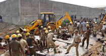 印度金奈发生房屋倒塌事故 JCB挖掘装载机协助救援