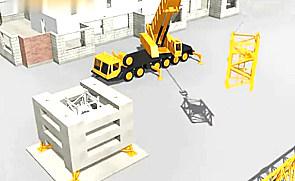 精致动画模拟塔吊装机立塔