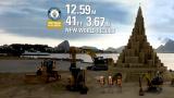 挑战世界纪录!卡特彼勒搭建12米高的沙雕城堡!