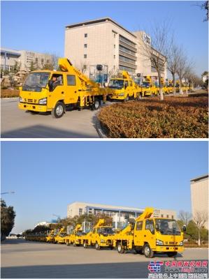 海伦哲10台高空作业车批量发往杭州
