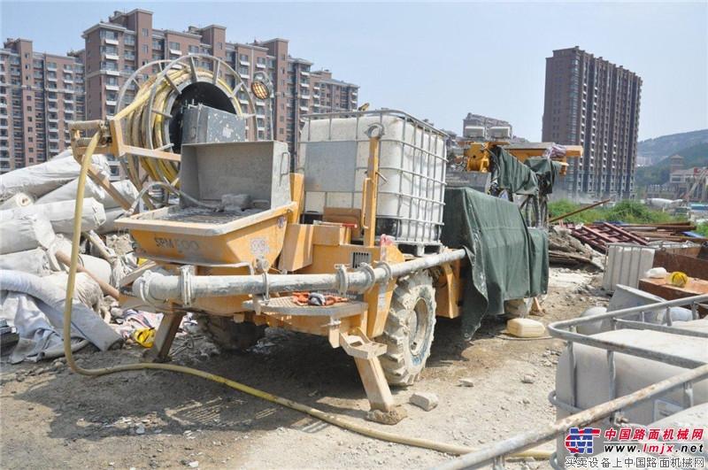 三一重工大象喷湿机济南站施工现场