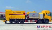 国内首创!杭州欣融研制出热熔沥青纤维碎石三同步封层车