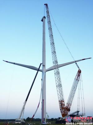 中联重科QUY800履带起重机助力临西运河风电首台风机顺利吊装