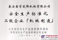 山东省安全生产监督管理局核准岳首筑机为国家安全生产标准化二级企业