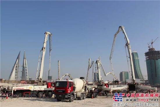 三一:世界泵王扬威波斯湾!巴林新地标7700m3地基浇筑一次完成