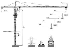 克瑞QTZ250(7030)整体式塔头系列塔式起重机