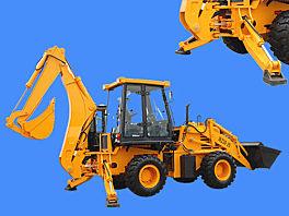 山猛A字型斜支腿WZ30-25型挖掘装载机