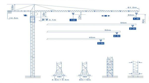 强力机械Q6018型尖头塔式起重机