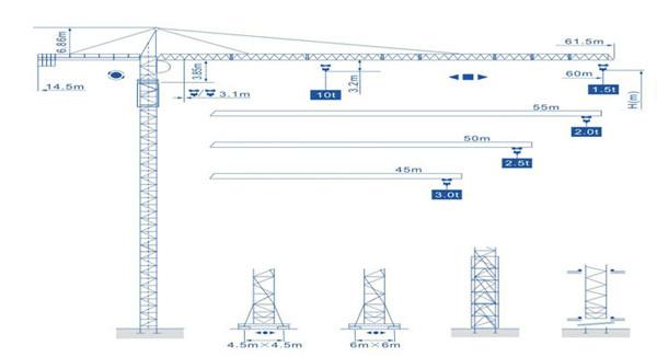 强力机械Q6015型尖头塔式起重机