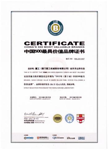 2013中国500最具价值品牌证书