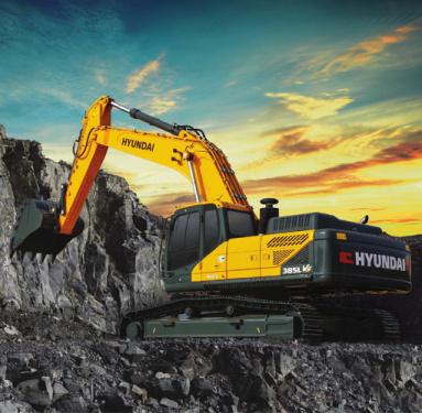 现代R385L VS挖掘机