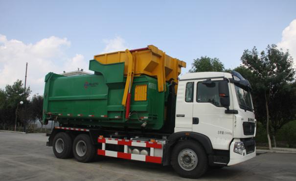 同辉汽车QTH5252ZXX30方重汽底盘车厢可卸式垃圾车
