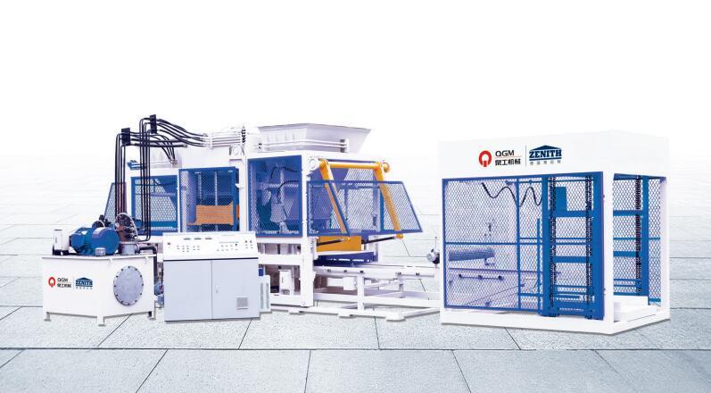 泉工QT12全自动路面彩色砖制砖机设备高清图 - 外观