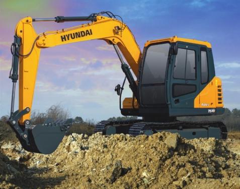 现代R75 VS挖掘机